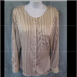 Dana Buchman gold and white striped blouse 14